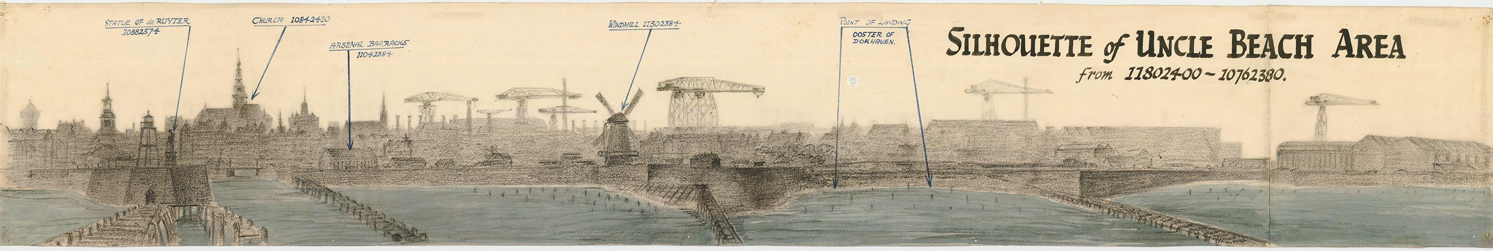 Voorbeeld tekening Vlissingen met enkele coördinatiepunten.