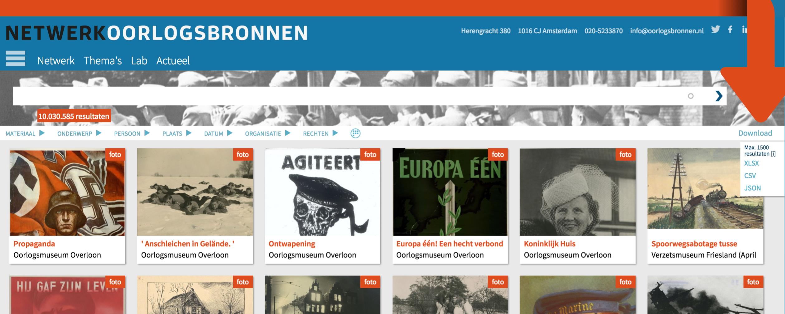 Zoekresultaten downloaden in de collectie-portal Oorlogsbronnen.nl
