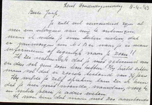 Brief aan Jaap van Leeuwen, geschreven door zijn nicht