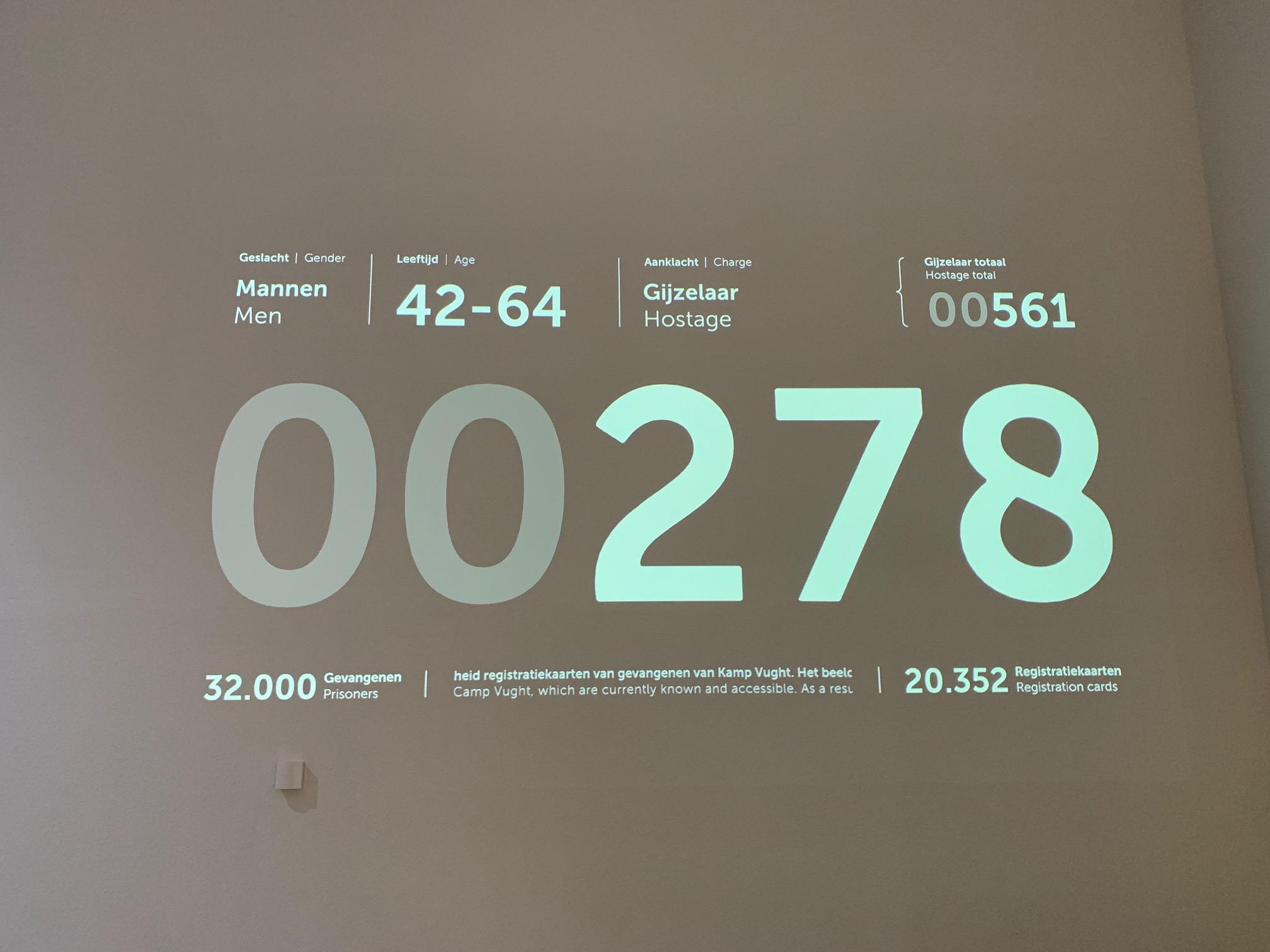 Een projectie met verspringende getallen geeft een beeld van wie er allemaal in Kamp Vught heeft vastgezeten.