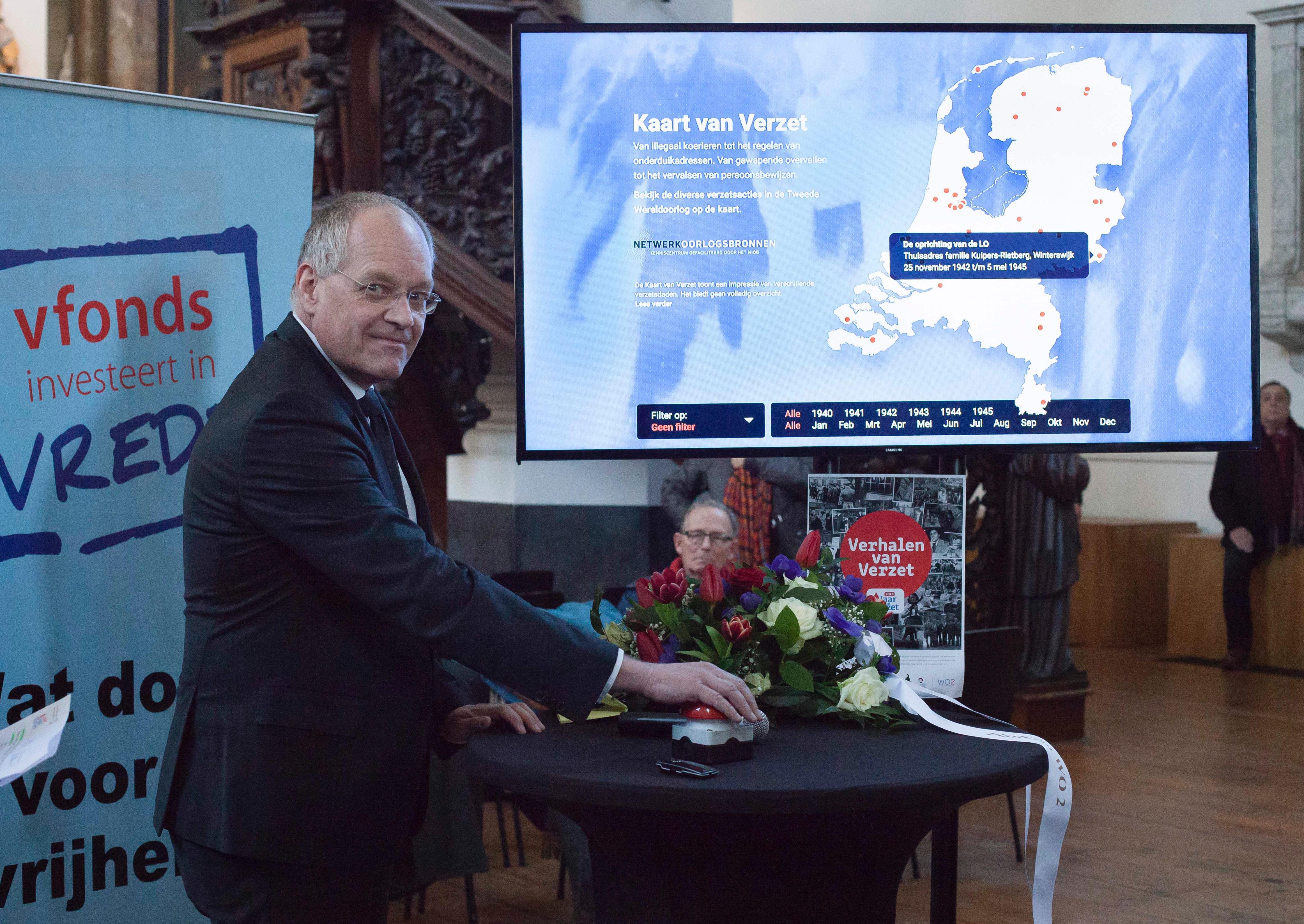 Erik Gerritsen (SG van het Ministerie van VWS) tijdens de aftrap van het Jaar van Verzet.