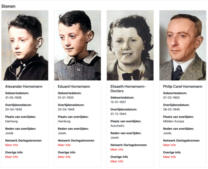 Stolpersteine van de familie Hornemann in de Stolpersteine.App