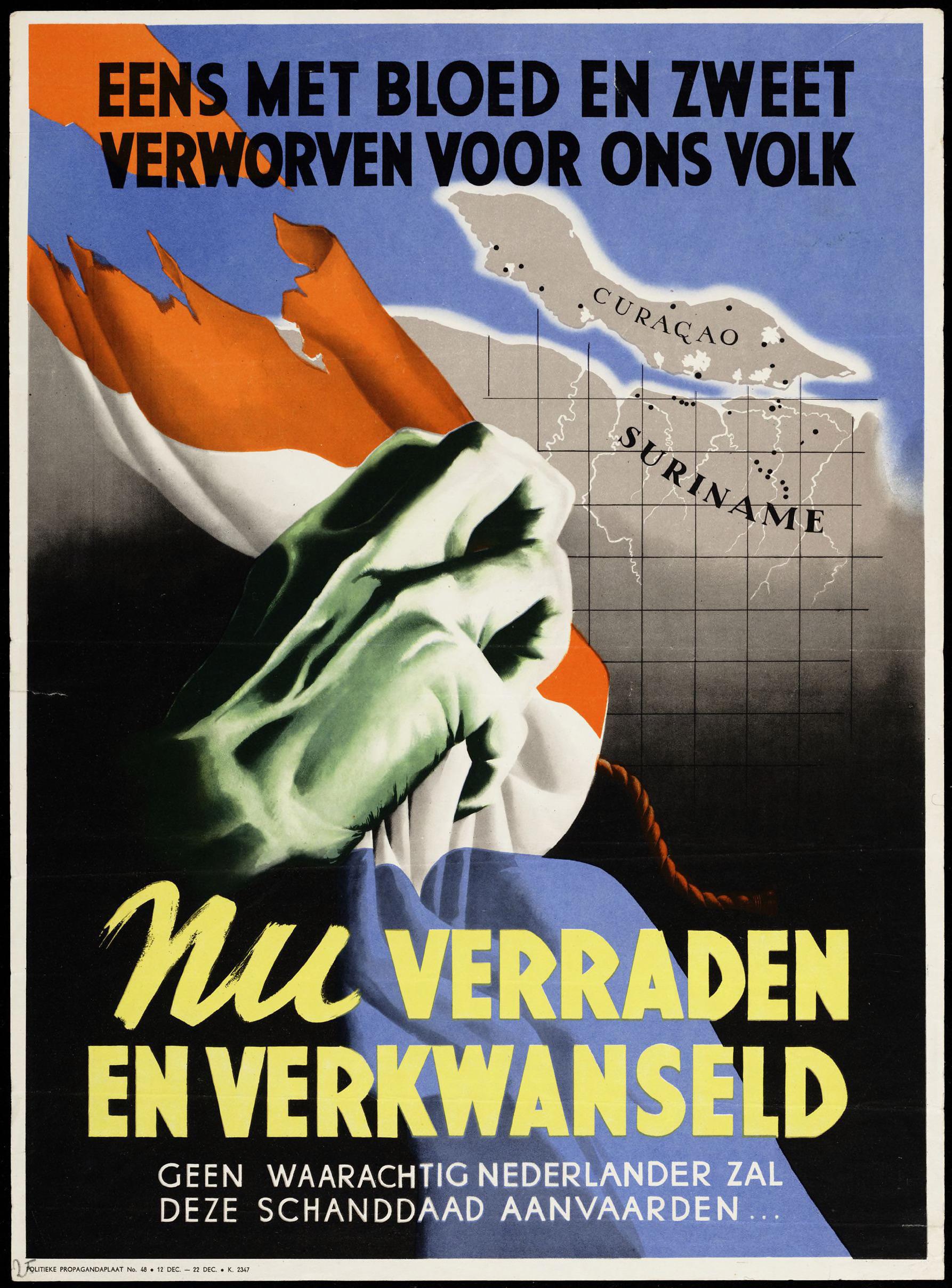 Propagandaposter over het verlies van de Koloniën.