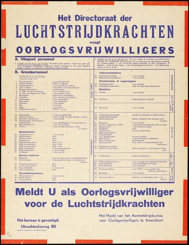 Het Directoraat der Luchtstrijdkrachten vraagt oorlogsvrijwilligers (1945).