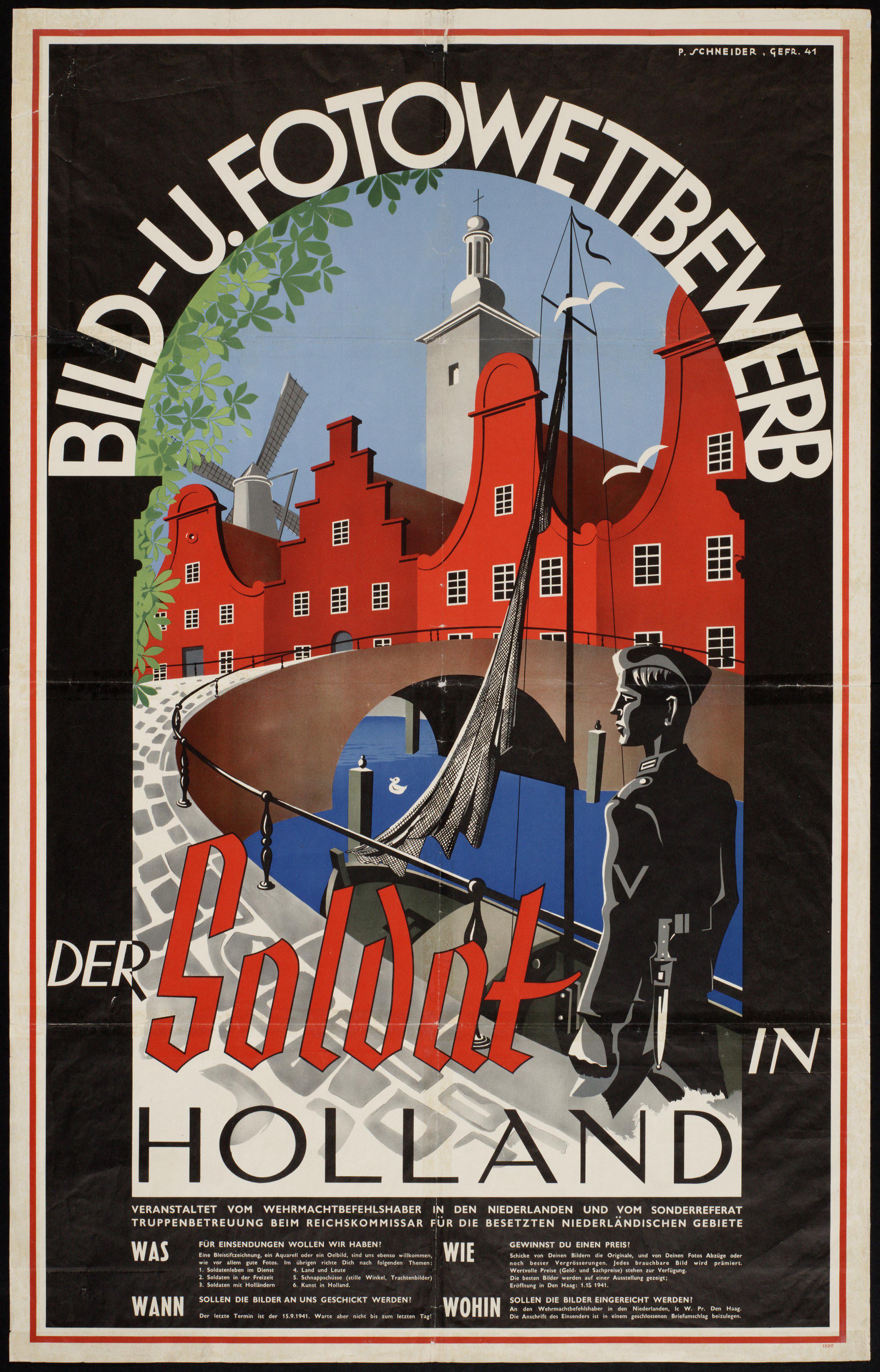 Affiche voor de tentoonstelling Der Soldat in Holland, die vanaf oktober 1941 in Den Haag te zien was