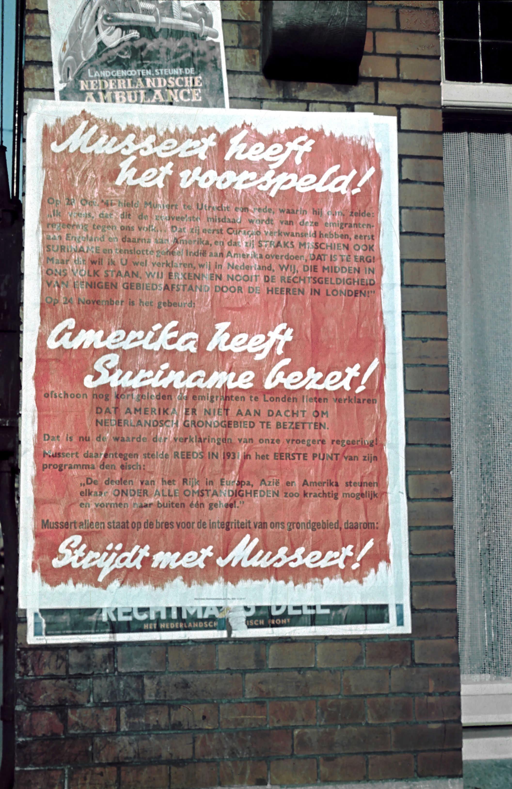 NSB-leider Mussert zette een grote campagne op tegen de Amerikaanse 'bezetting' van Suriname eind 1941.