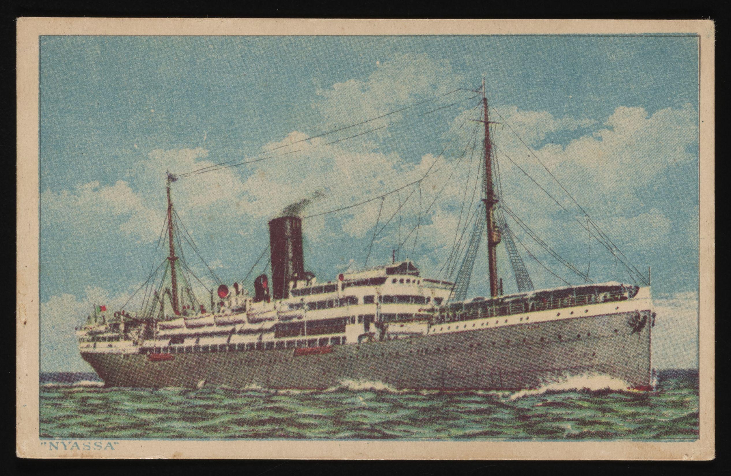 Het schip Nyassa dat de vluchtelingen van Portugal naar Suriname brengt