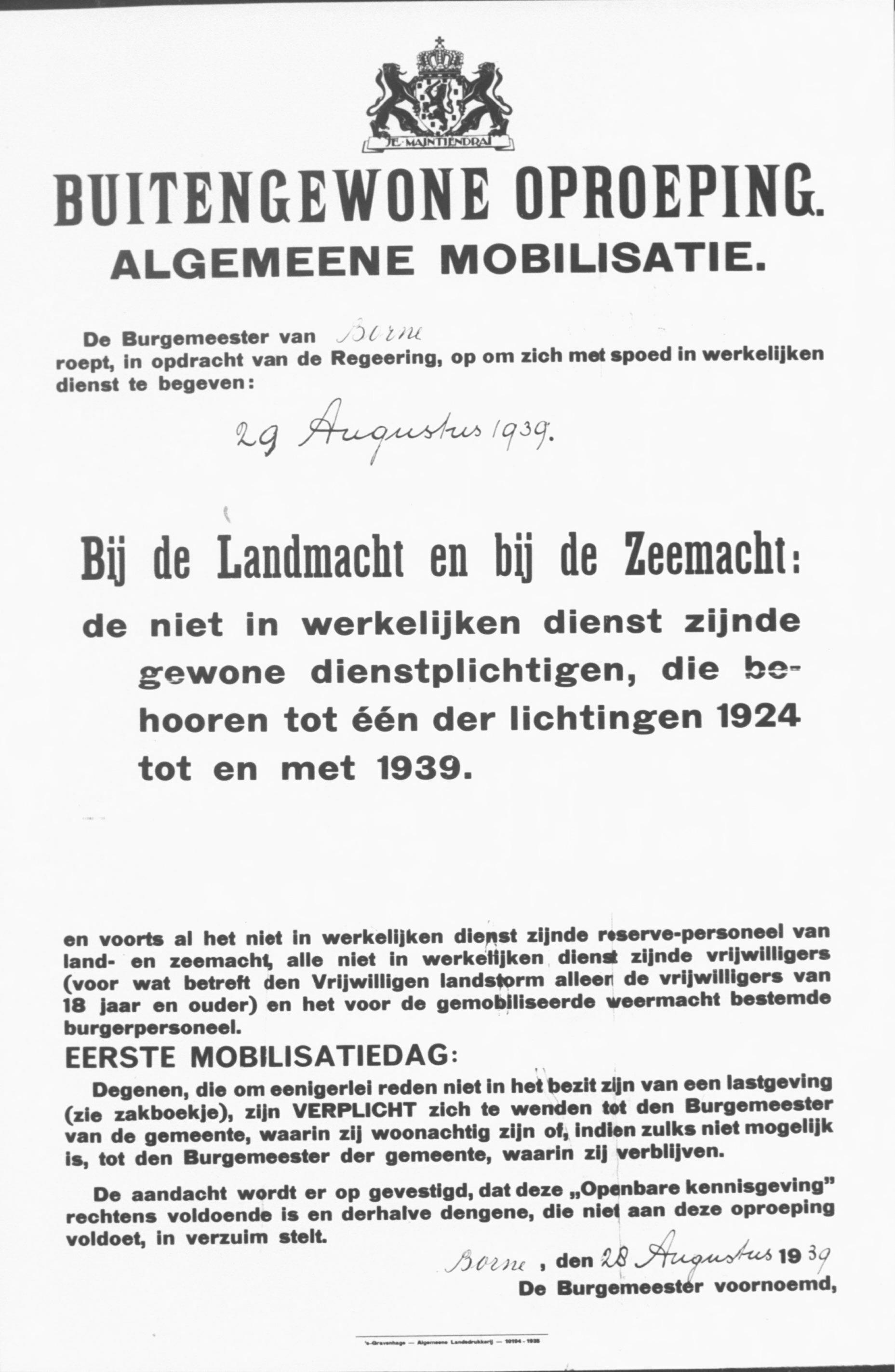 Afkondiging van algemene mobilisatie