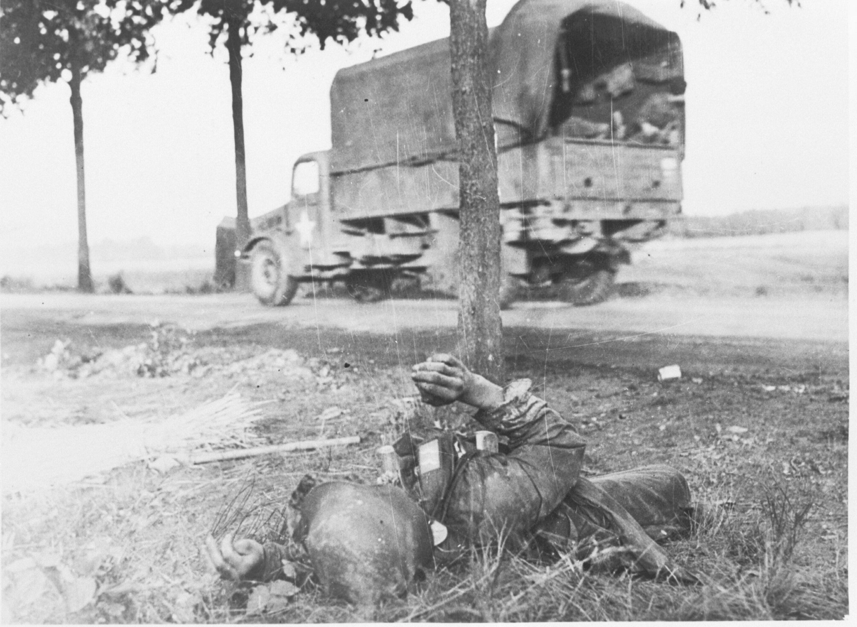 Gesneuvelde Duitse militair tijdens Operatie Market-Garden