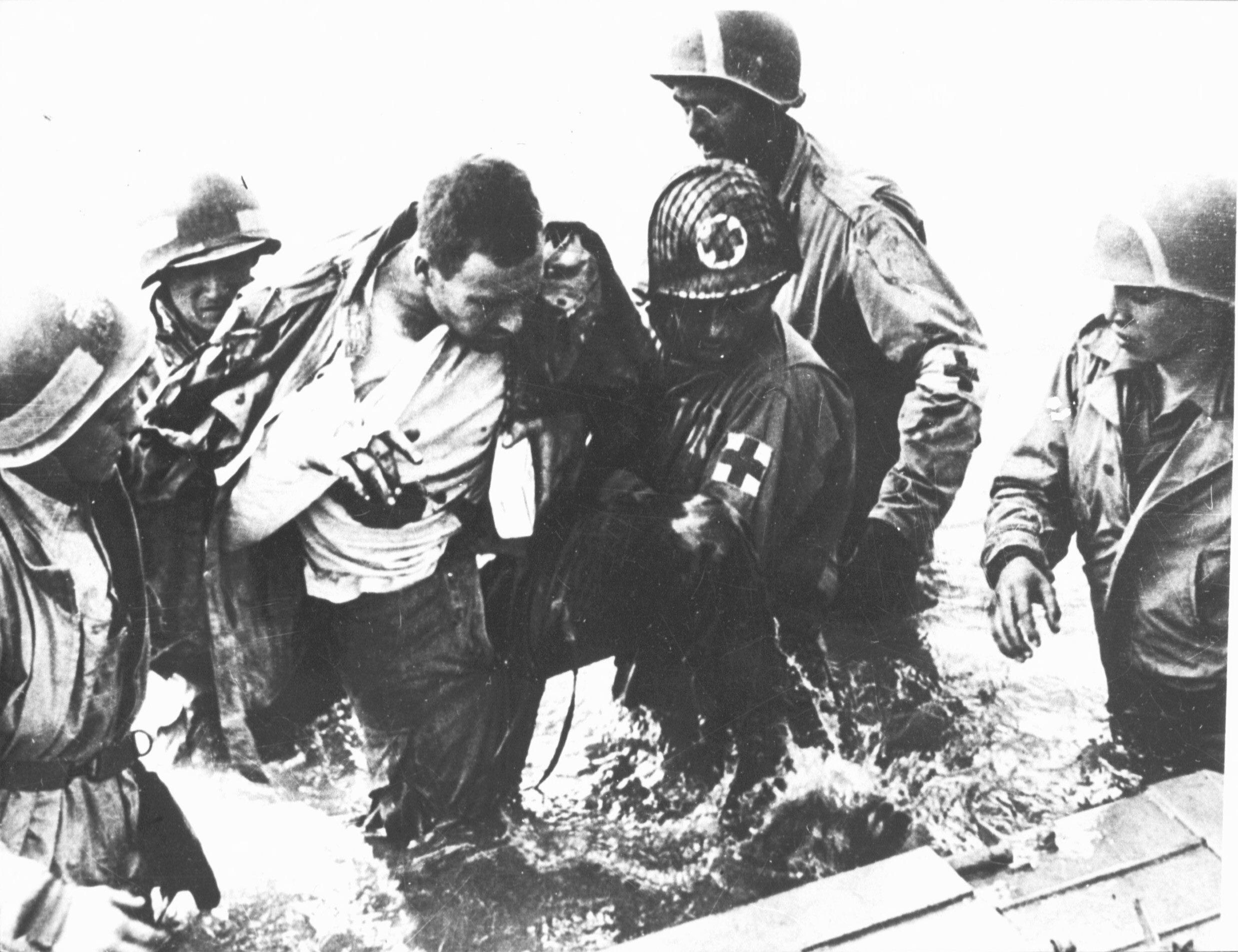 Amerikaanse gewonde tijdens D-Day