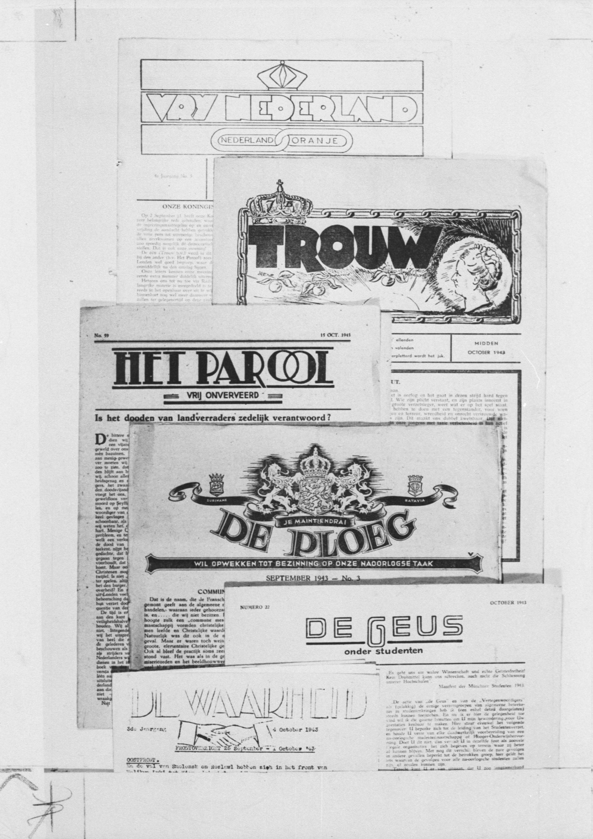 Enkele illegale kranten waaronder De Geus, Trouw, De Waarheid, De Ploeg, Het Parool en Vrij Nederland.