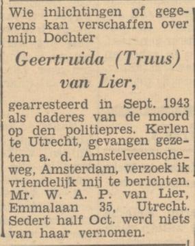 Vader Willem opzoek naar informatie over zijn dochter Truus, Het Parool 11-07-1946