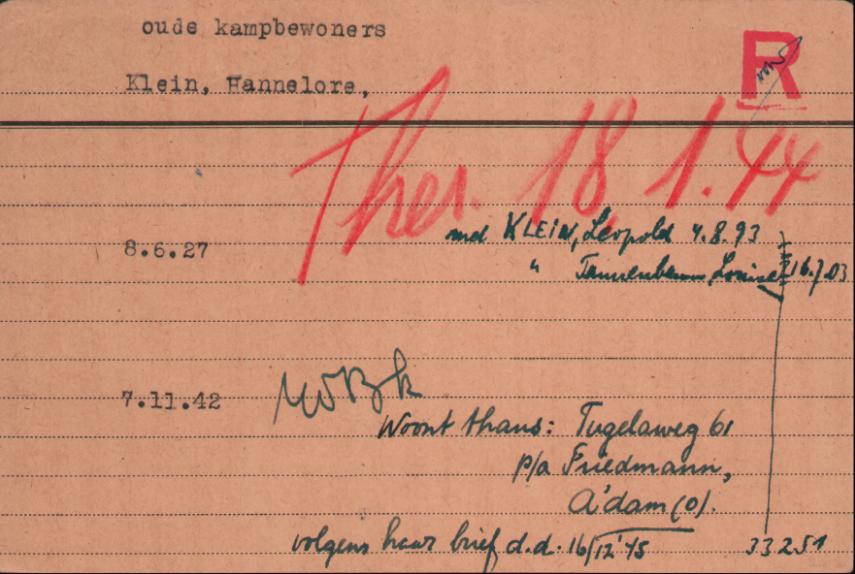 Kaart van Hannelore Klein uit de Joodsche Raad Cartotheek, met daarop in het rood de transportdatum van Kamp Westerbork naar Kamp Theresienstadt