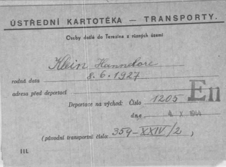 Kampkaart van Hannelore Klein uit Kamp Theresienstadt