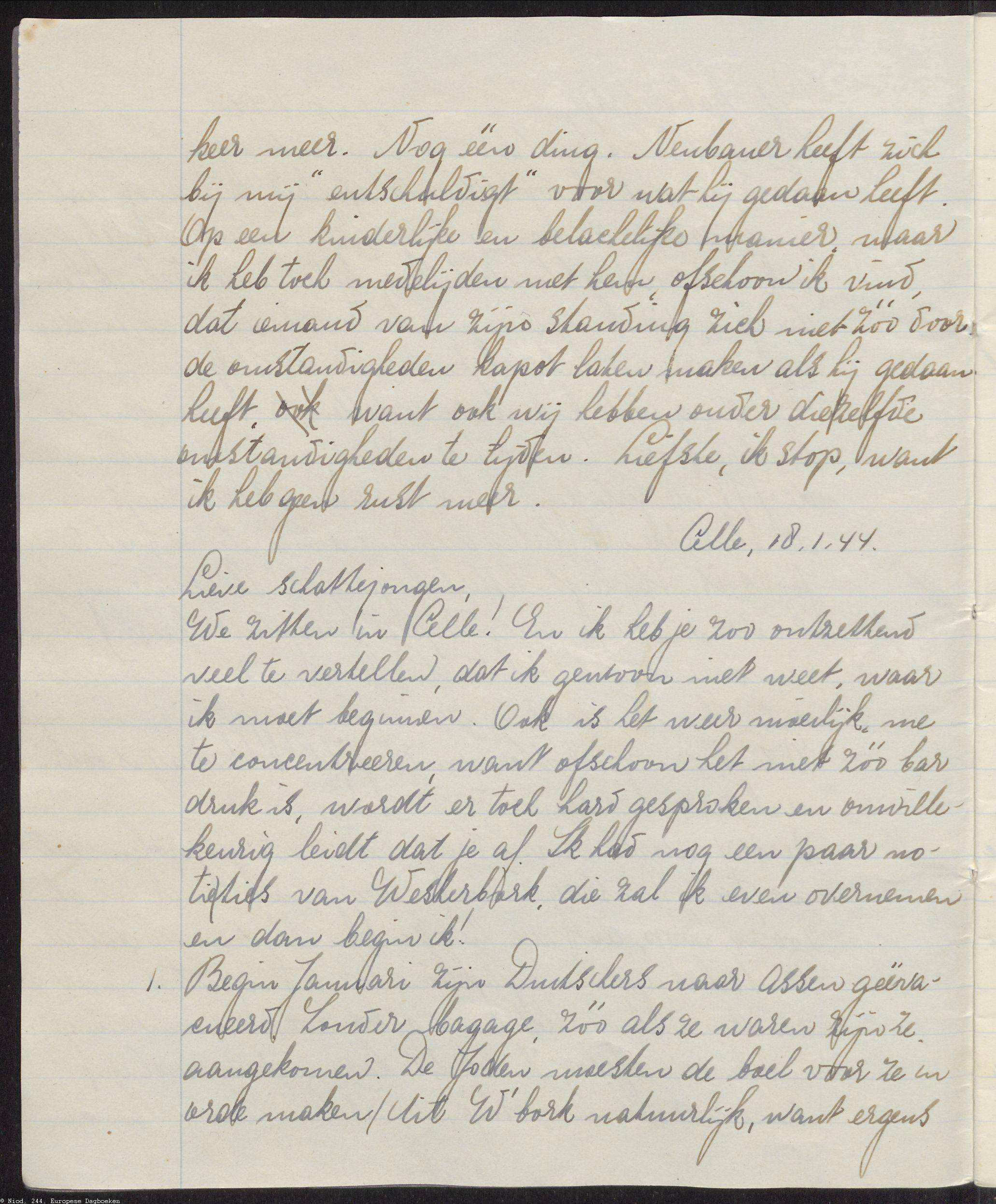 Bladzijde uit briefdagboek Mirjam Bolle