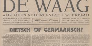 Krantenartikel uit De Waag van 14 augustus 1942. In de zomer van 1942 heeft er binnen De Waag een machtswisseling plaatsgevonden, waarna de krant zich openlijk aan de kant van de Nederlandsche SS schaart.